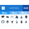 40 Christmas Blue & Black Icons - Overview - IconBunny