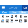 45 Computer & Hardware Blue & Black Icons - Overview - IconBunny