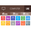 45 Computer & Hardware Line Multicolor B/G Icons - Overview - IconBunny