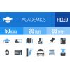 50 Academics Blue & Black Icons - Overview - IconBunny