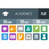 50 Academics Flat Round Corner Icons - Overview - IconBunny