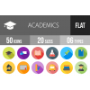 50 Academics Flat Shadowed Icons - Overview - IconBunny