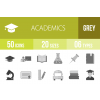 50 Academics Greyscale Icons - Overview - IconBunny