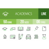 50 Academics Line Green & Black Icons - Overview - IconBunny
