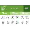 50 Activities Line Green & Black Icons - Overview - IconBunny