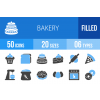 50 Bakery Blue Black Icons - Overview - IconBunny