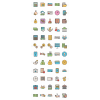 60 Banking Line Multicolor Filled Icons - Preview - IconBunny
