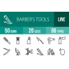 50 Barber's Tools Line Icons - Overview - IconBunny