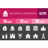 50 Buildings & Landmarks Glyph Inverted Icons - Overview - IconBunny