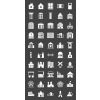50 Buildings & Landmarks Glyph Inverted Icons - Preview - IconBunny