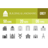 50 Buildings & Landmarks Greyscale Icons - Overview - IconBunny