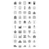 50 Buildings & Landmarks Greyscale Icons - Preview - IconBunny
