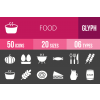 50 Food Glyph Inverted Icons - Overview - IconBunny