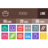 50 Food Line Multicolor B/G Icons - Overview - IconBunny