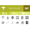 50 Healthcare Greyscale Icons - Overview - IconBunny