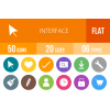 50 Interface Flat Round Icons - Overview - IconBunny