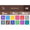 50 Interface Line Multicolor B/G Icons - Overview - IconBunny