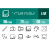50 Picture Editing Line Icons - Overview - IconBunny