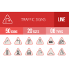 50 Traffic Signs Line Multicolor Filled Icons - Overview - IconBunny