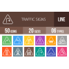 50 Traffic Signs Line Multicolor B/G Icons - Overview - IconBunny