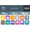 50 Wedding Flat Round Corner Icons - Overview - IconBunny