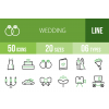 50 Wedding Line Green & Black Icons - Overview - IconBunny