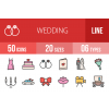 50 Wedding Line Multicolor Filled Icons - Overview - IconBunny