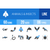 60 Animals & Insects Blue & Black Icons - Overview - IconBunny