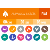 60 Animals & Insects Flat Round Icons - Overview - IconBunny