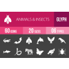 60 Animals & Insects Glyph Inverted Icons - Overview - IconBunny