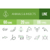 60 Animals & Insects Line Green & Black Icons - Overview - IconBunny