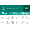 60 Animals & Insects Line Icons - Overview - IconBunny