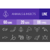 60 Animals & Insects Line Inverted Icons - Overview - IconBunny