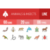 60 Animals & Insects Line Multicolor Filled Icons - Overview - IconBunny