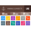 60 Animals & Insects Line Multicolor B/G Icons - Overview - IconBunny