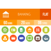 60 Banking Flat Round Icons - Overview - IconBunny