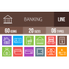 60 Banking Line Multicolor B/G Icons - Overview - IconBunny
