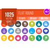 1025 Flat Round Icons Bundle - Overview - IconBunny