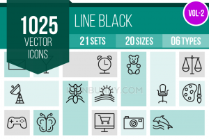 1025 Line Inverted Icons Bundle - Preview - IconBunny