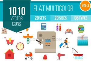 1010 Flat Multicolor Icons Bundle - Overview - IconBunny