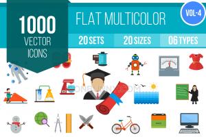 1000 Flat Multicolor Icons Bundle - Overview - IconBunny