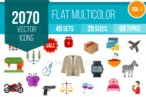 2070 Flat Multicolor cons Bundle - Overview - IconBunny