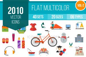 2010 Flat Multicolor Icons Bundle - Overview - IconBunny