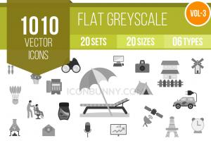 1010 Greyscale Icons Bundle - Overview - IconBunny