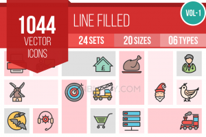 1044 Line Multicolor Filled Icons Bundle - Overview - IconBunny