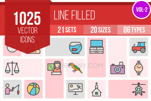 1025 Line Multicolor Filled Icons Bundle - Overview - IconBunny