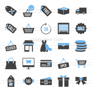 25 Black Friday Blue & Black Icons - Preview - IconBunny