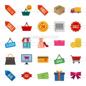 25 Black Friday Flat Multicolor Icons - Preview - IconBunny