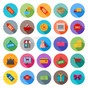 25 Black Friday Flat Shadowed Icons - Preview - IconBunny