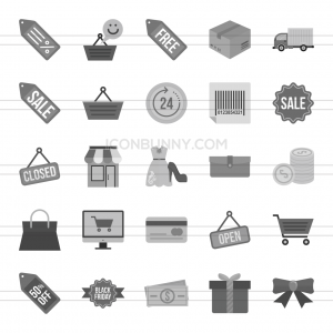 25 Black Friday Greyscale Icons - Preview - IconBunny